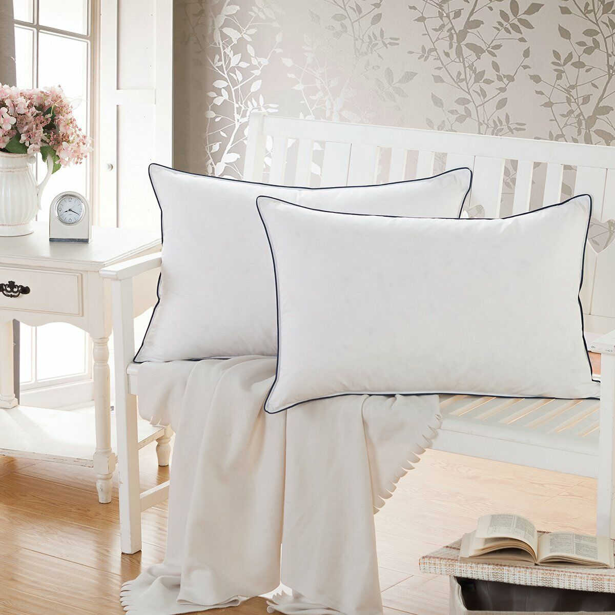 White Goose Feather Down Bed Pillows for Sleeping,100% Cotto