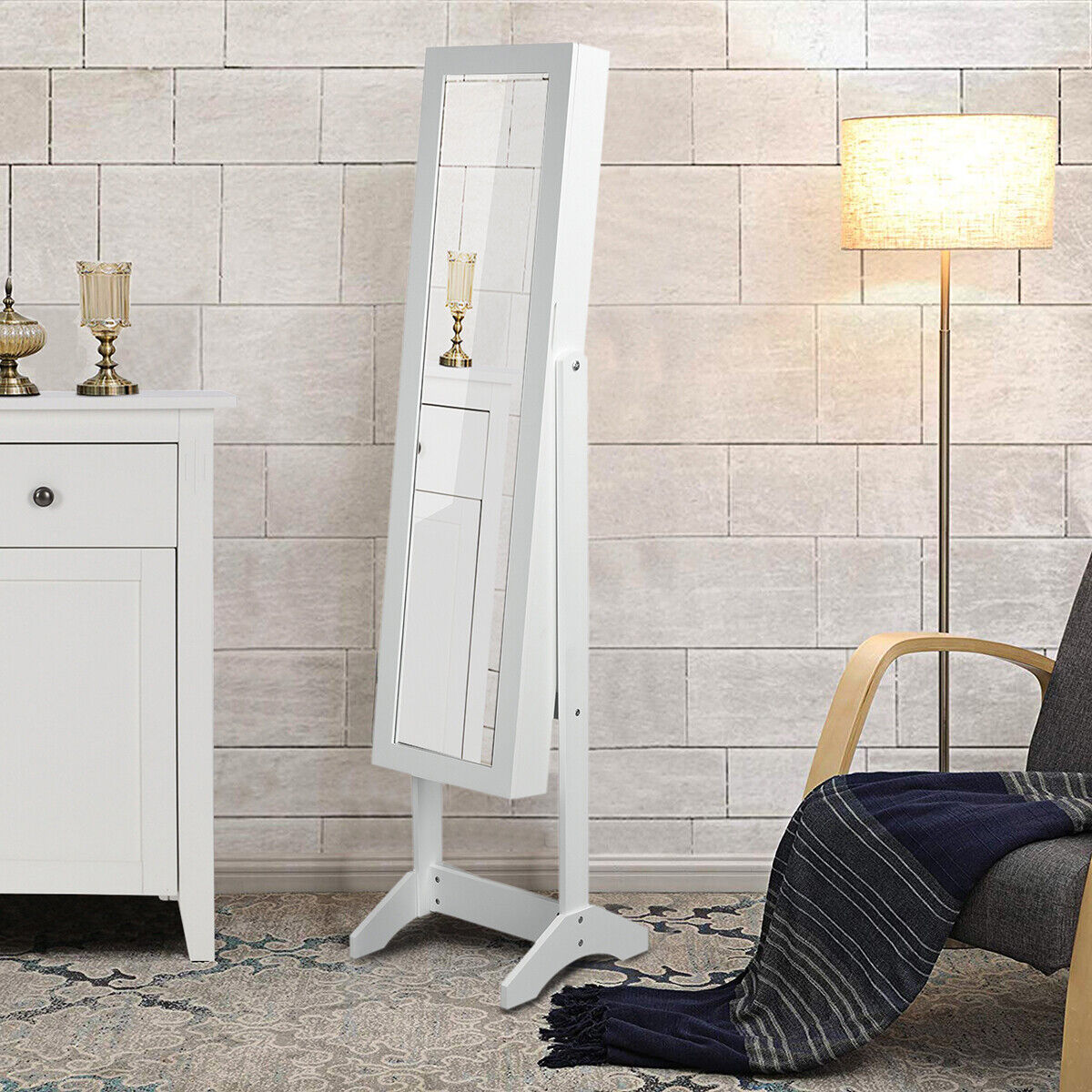 Jewelry Stoarge Cabinet Full Body Mirror Freestanding Storag