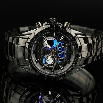 INFANTRY Mens Digital Quartz Wrist Watch Date Day Sport Black Stainless Steel