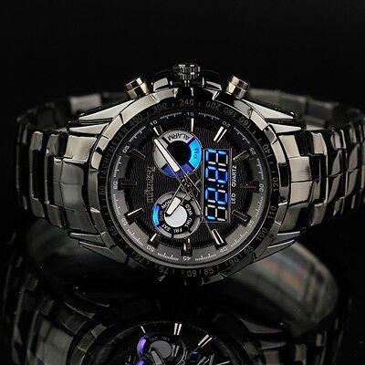 INFANTRY Mens Digital Quartz Wrist Watch Date Alarm Sport Black Stainless Steel