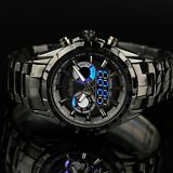 INFANTRY Mens Digital Quartz Wrist Watch Date Day Sport Black Stainless Steel