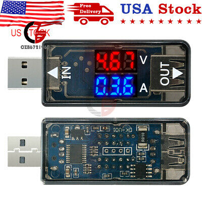 Digital 3-digit 5v Dual Led Usb Current Voltage Meter Voltmeter Ammeter Tester