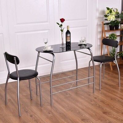 3 Piece Tempered Glass Metal Dining Table and Chairs Set Kitchen Room Furniture
