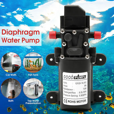 12v Water Pump Kit 130psi Self Priming Pump Diaphragm High Pressure 6lmin 70w