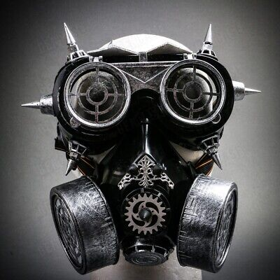 Silver Mask For Halloween (Party Steampunk Masquerade Silver Gas Mask Respirator Goggles Glasses)