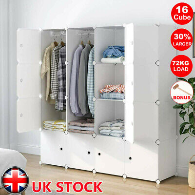 16 Cube Plastic Storage Wardrobe Clothes Organizer Closet Cupboard Shoe Cabinet