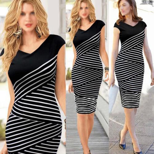Sexy Women Fashion Sleeveless Striped Bodycon Party Evening Office Pencil Dress