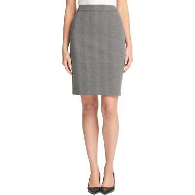 DKNY Womens Gray Herringbone Printed Straight Skirt Plus 18 BHFO 7752