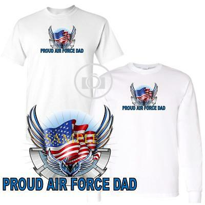 Air Force Long Sleeve T-shirt - Air Force Dad Pride Wings And Flag Graphic Short / Long Sleeve White T Shirt
