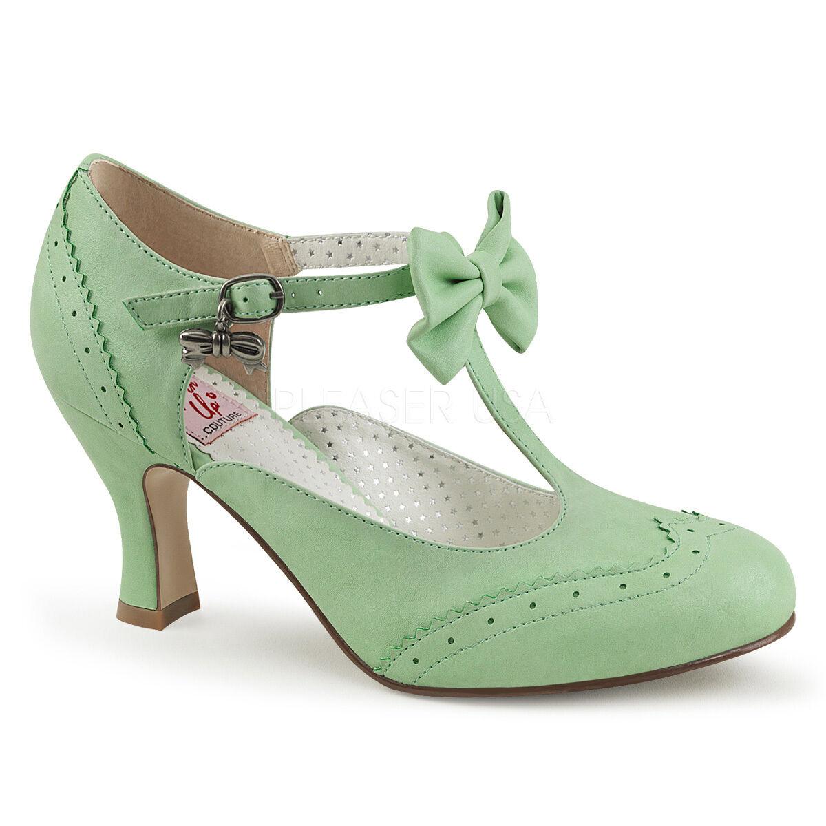 "Sexy 3"" Kitten Heel Round Toe Wingtip T-Strap Mint Green Pumps Shoes FLAP11/MTPU"
