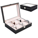 New PU Leather 10 Slots Wrist Watch Display Box Storage Holder Organizer Case