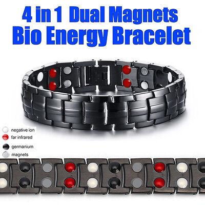 Mens Titanium Super Strong Anion Magnetic Therapy Bracelet Bio 4 In 1 Arthritis