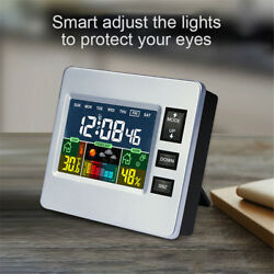 LCD Digital Temperature Hygrometer Alarm Clock Calendar Weather Multi-function