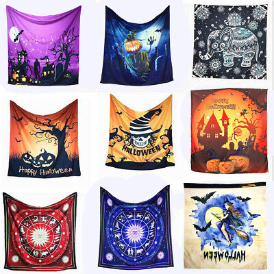 Halloween Tapestry Wall Hanging Skull Witch Pumpkin Castle Home Decor Blankets - Halloween Witch Castle