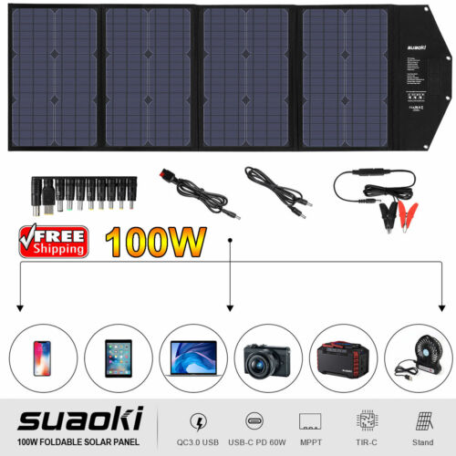 100W Portable Solar Panel Charger DC USB Type-C Waterproof C