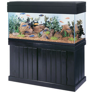 Aqueon all glass 90 gal aquarium black stand amp canopy 2 for 90 gallon fish tank stand