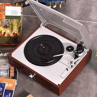 Vintage Vinyl Record Player 3-Speed Turntable Stereo RCA MP3 w/ Radio Speakers