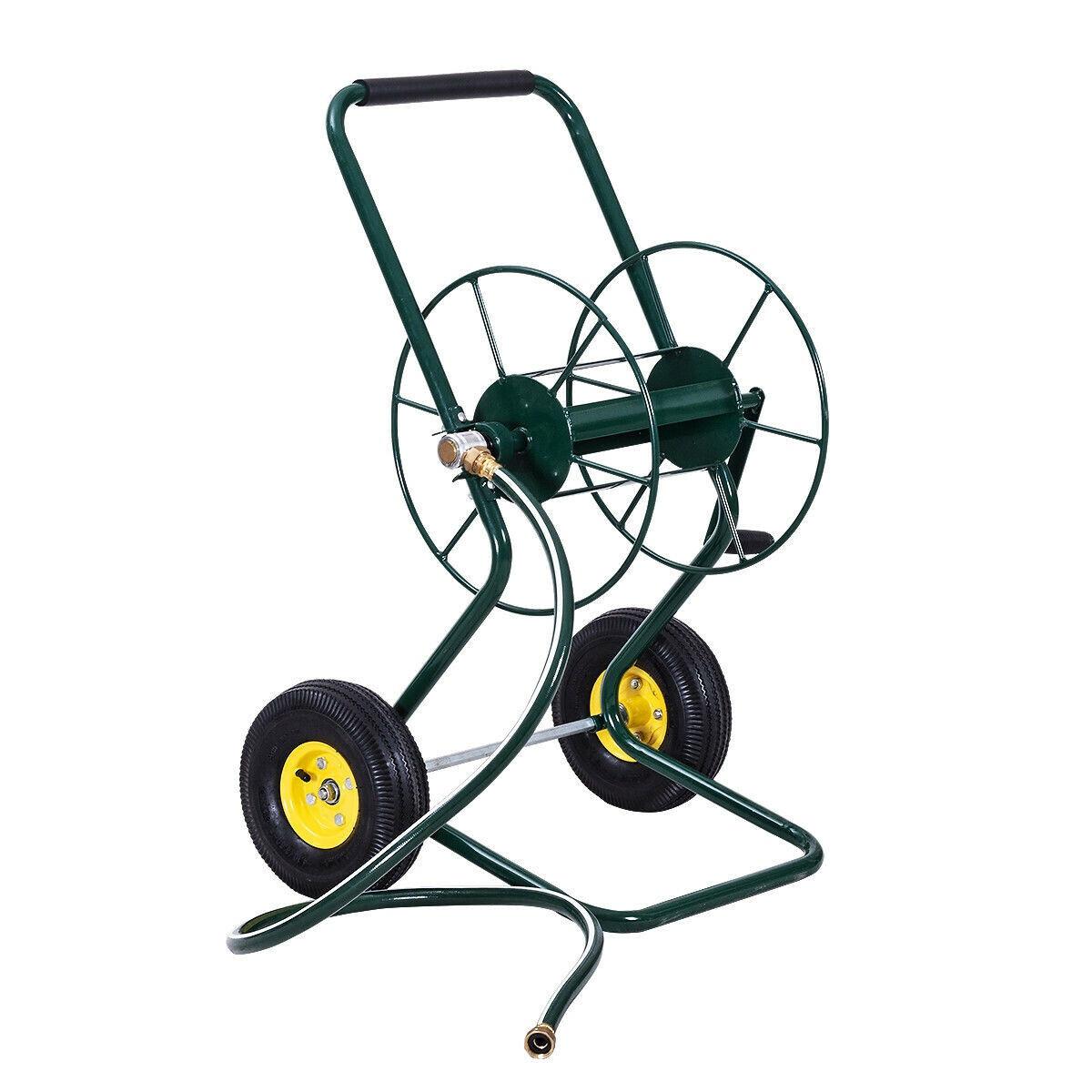 Garden Water Hose Reel 2 Wheeled Cart Steel Frame 200 feet o