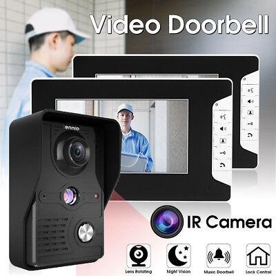 "Wired 7"" LCD Rainproof Video Doorbell Intercom System IR Camera 2-Monitor White"