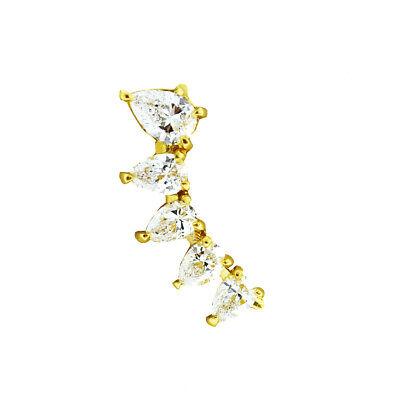 Anita Ko 18k Yellow Gold Pear Diamond Floating Left Side Earring