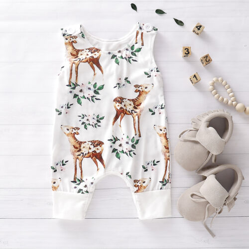 Newborn Infant Cute Baby Girl Floral Clothes Sleeveless Romp