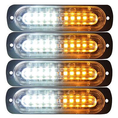 4pcs 10 LED Strobe Lights Emergency Flashing Warning Beacon White Amber 12V 24V