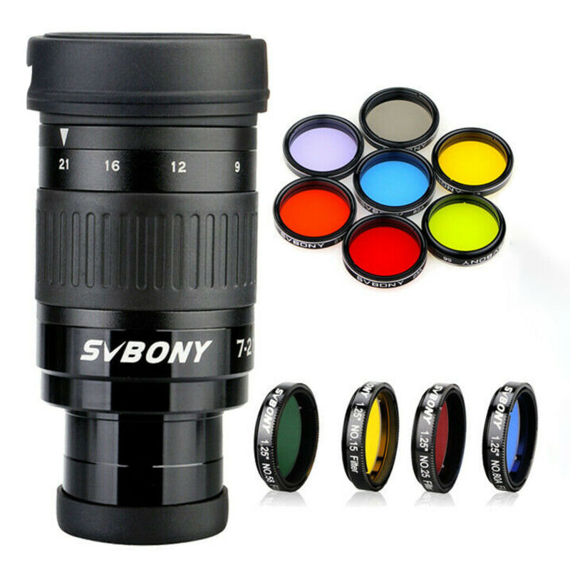 SVBONY SV135 1.25inch 7-21mm zoom telescope eyepiece 6-Elem 4-Group Optical FMC