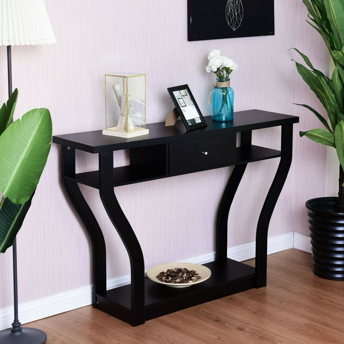 Console Table With Drawers Storage Hall Entry Entryway Black