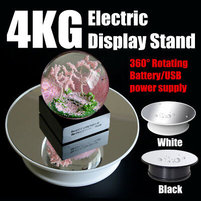 Round Mirror Top Electric 360 Turntable Rotating Jewelry Display Stand Showcase