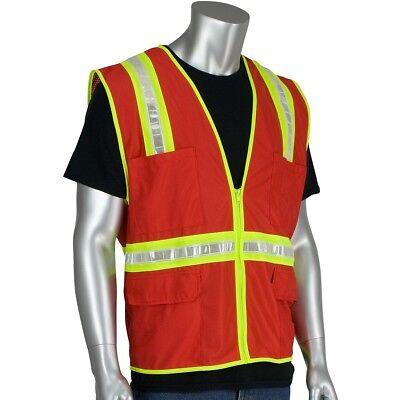 Pip Non-ansi Reflective Surveyor Safety Vest With Pockets Red