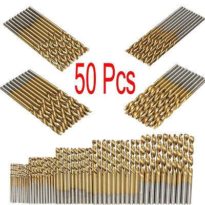 50Pc Titanium Coated HSS High Speed Steel Drill Bit Set Tool 1/1.5/2/2.5/3mm New