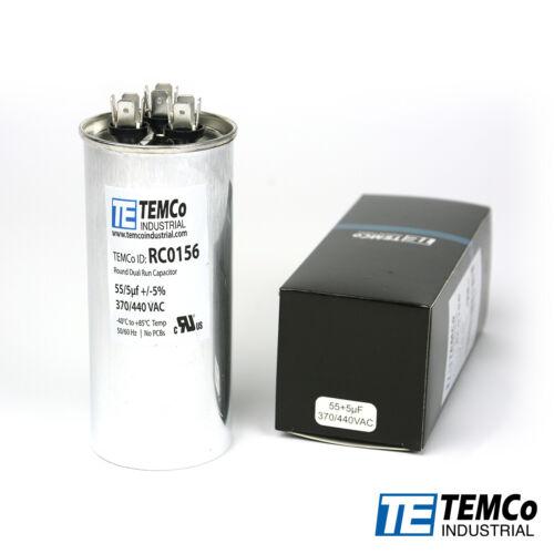 TEMCo 55/5 MFD uF Dual Run Capacitor 370 440 vac Volts AC Motor HVAC 55+5