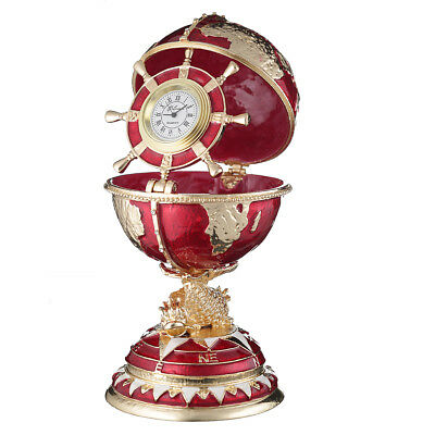 Russian Faberge Egg / trinket jewel box The Globe with clock 5.5'' (14 cm) red for sale  Shipping to United States