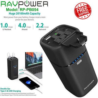 RAVPower 20100MAH AC Portable Charger Plug Power Bank Laptop Phone USB RP-PB054