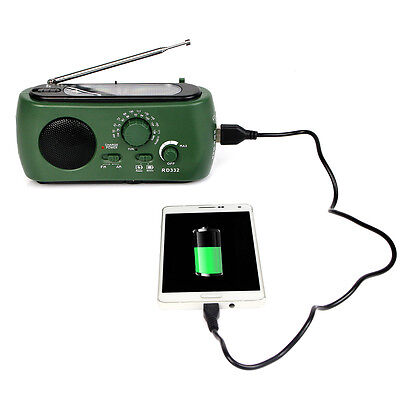 Dynamo Generator FM/AM Solar Crank Powered Radio with Flashlight Phone Charger