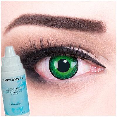 Farbige Halloween Fasching Kontaktlinsen Shining GRATIS Komplettset grün-schwarz