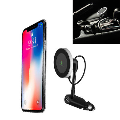Case Car Charger Phone Holder - 360° Rotation Magnetic Car Qi Wireless Phone Charger Holder Black With USB Port