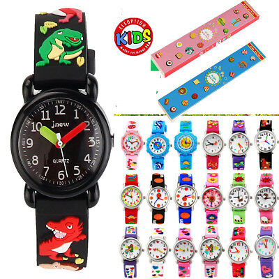 31 Styles Kids Children Girls Boys Waterproof 3D Cartoon Rubber Wrist Watch+Box