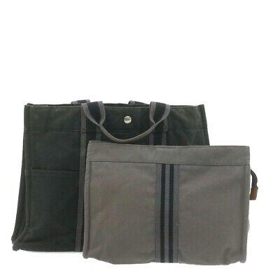 HERMES Fourre Tout MM Hand Clutch Bag Gray Black 2Set Cotton Auth ar3659