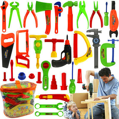 34Pcs Pretend Tools Toys Plastic Repair Set Baby Kids Boys Craftsman Learn Play
