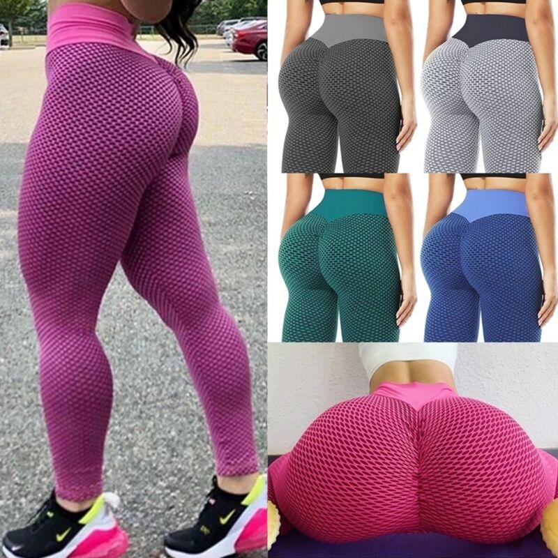 Yoga Pants Women Tik Tok Leggings Textured High Waist Butt Lift Stretchy Workout