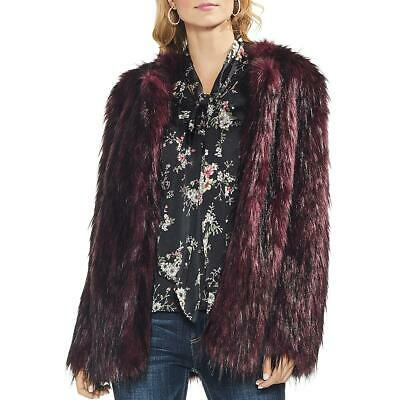 Vince Camuto Womens Red Faux Fur Kiss Front Faux Fur Coat Outerwear S BHFO 1359 Womens Faux Fur Coats