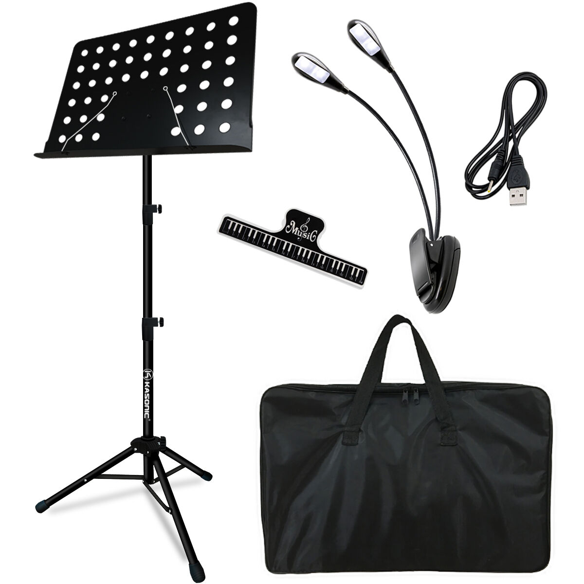 portable music stand collapsible led light paper holder for music sheet book. Black Bedroom Furniture Sets. Home Design Ideas