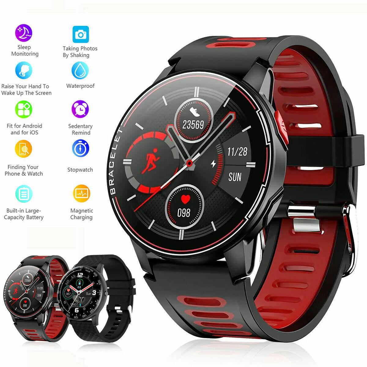 Bluetooth Smartwatch Fitness Armband Fitness Tracker Sportuhr Wasserdicht Uhr DE
