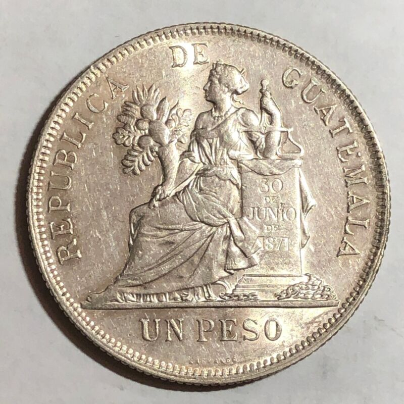 1896 Guatemala UN PESO, UNC. #ud2    (large crown-sized silver coin)