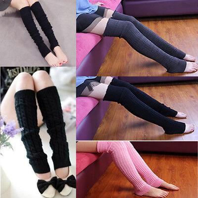 - Women Winter Warm Knit High Knee Leg Warmers Crochet Leggings Boot Socks USStock