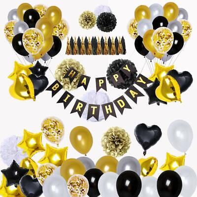 Black And Gold Party Supplies (Black and Gold Party Decorations (90Pcs) Happy Birthday Banner 18th 20th)