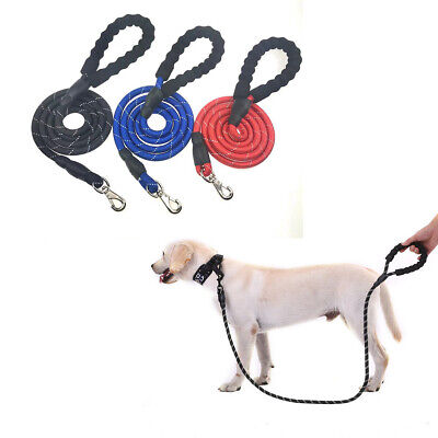 5 FT Service Dog Rope Puppy Leash Lead Training Padded Handle Reflective -