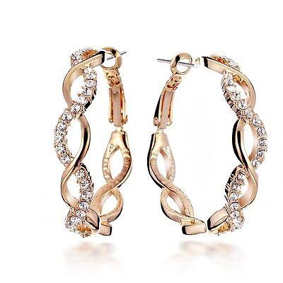 Valentine Deal 18K GOLD Filled INFINITY Crystal Hoop Pierced Earring USGM048 Eternity Hoop Pierced Earrings