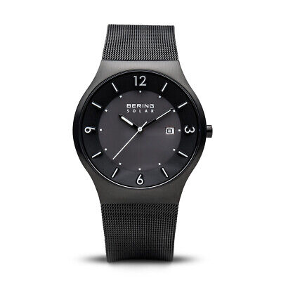 BERING Time Men's Solar Collection Mesh Band Black Face Watch 40mm - 14440-222 for sale  Shipping to India